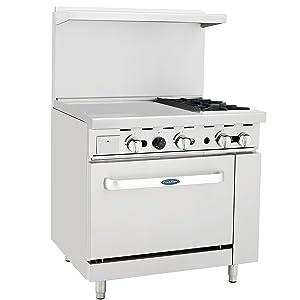 "CookRite ATO-24G2B Liquid Propane Range 2 Burner Hotplates with 24"" Manual Commercial Griddle Standard Oven 36'' - 121,000 BTU"