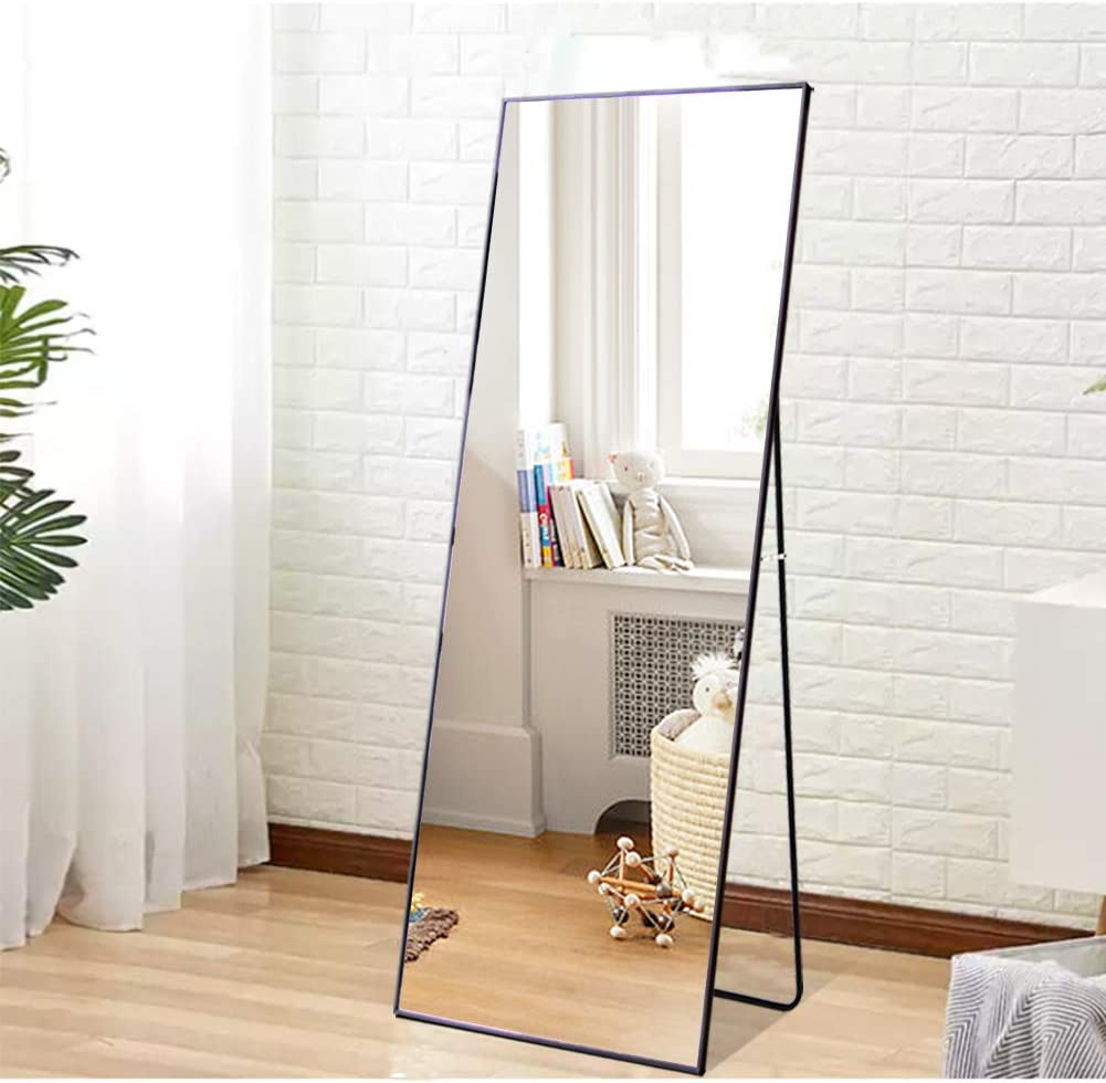 """Beauty4U Full Length Mirror Hanging Standing or Leaning, Bedroom Mirror Floor Mirror Wall-Mounted Mirror with Alloy Frame, 65"""" x 23.6"""", Black"""