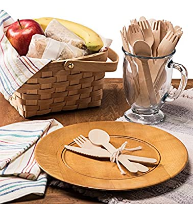 "Wooden Disposable Cutlery Set of 300pc, incl. 100 Forks, 100 Spoons, 100 Knives, 6"" in Length, Combo Pack, Eco Friendly, Biodegradable, Compostable, 100% Natural Utensils"