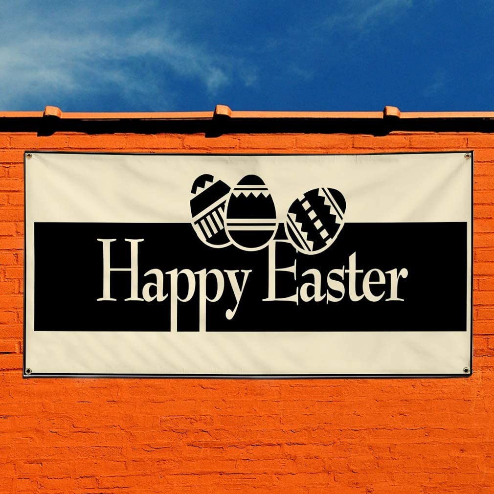 Set of 2 Multiple Sizes Available Vinyl Banner Sign Happy Easter Style6 Holidays and Occasions Marketing Advertising Grey 6 Grommets 32inx80in