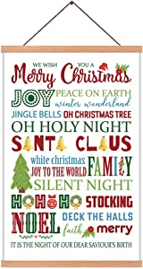 Merry Christmas Art Print With Wood Magnetic Hanger Frame,Colorful Festive Wall Hanging Poster 28X45CM, Holy Night Xmas Canvas Wall Art For Holiday Party Room Decor