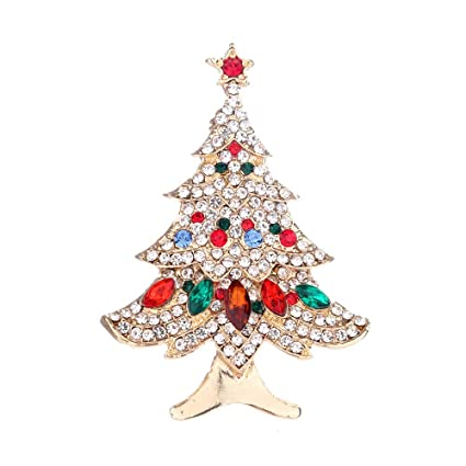 451839ac6e6 Image Unavailable. Image not available for. Color: Hennta Christmas Tree  Rhinestone Inlay Fashion Jewelry Festival Brooch Pins ...