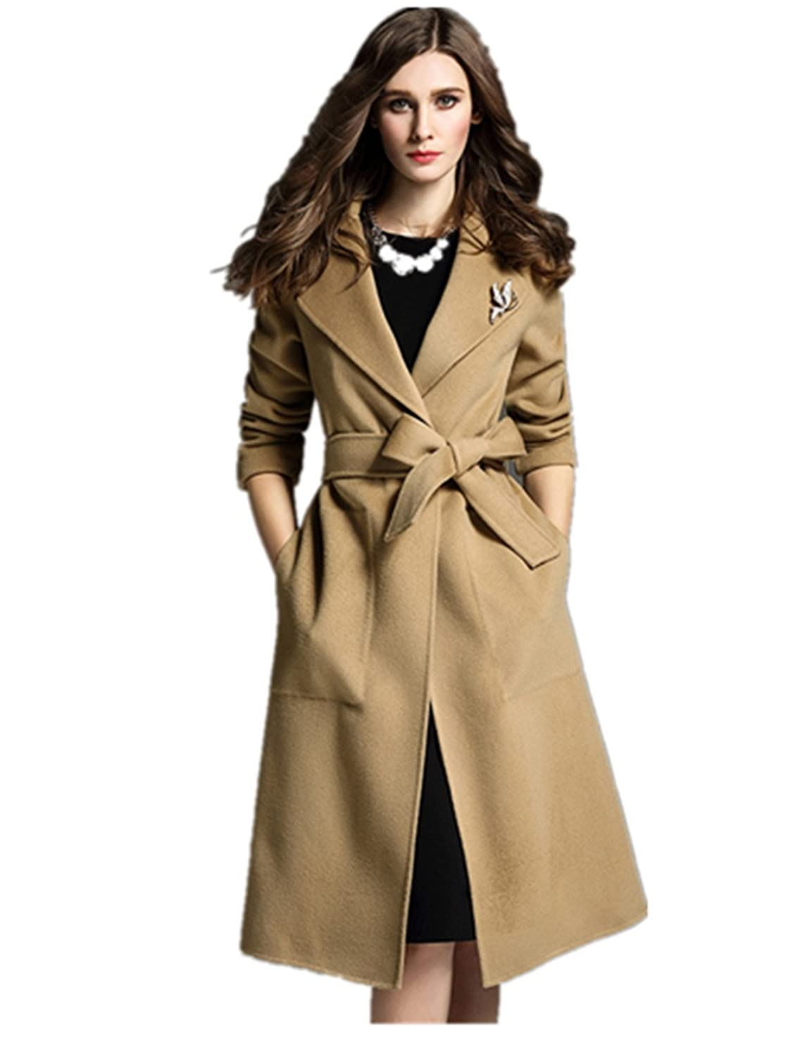 YINHAN Women's Big Plus Size One Button Long Wool Coats Parkas