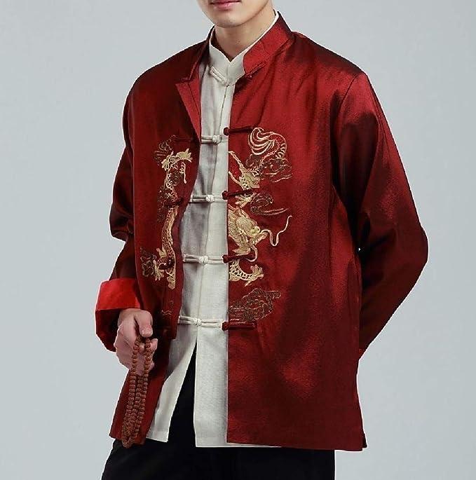 Zimaes-Men Dragon Embroidery Jacket Coat Chaquetas ...