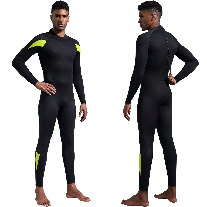 (XX-Large, Men's Fullsuit 3mm - Black) - Dark Lightning Premium CR Neoprene Wetsuit, Women and Mens Scuba Diving Thermal Wetsuit in 3/2mm and 5/4mm, Full Suit and Shorties B073FLRGHM