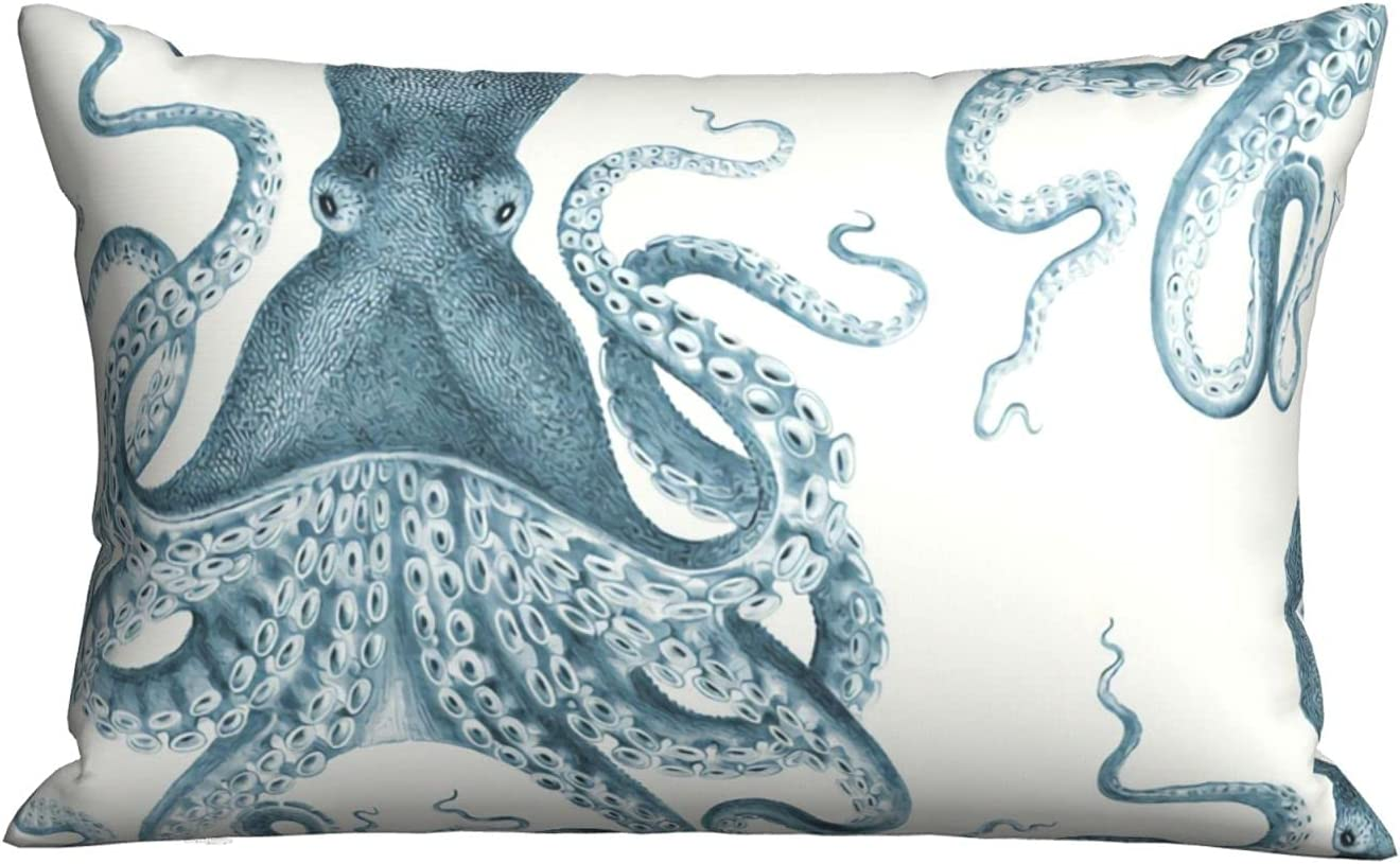~ Throw Pillow Case,Octopus Oasis in Sea Home Decor Decorative Cushion Case for Sofa Bedroom Car 20 X 30 Inch