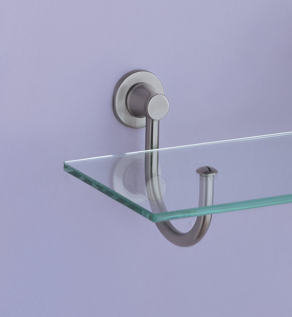 Organize It All Mounted Tempered Glass Shelf with Satin Nickel Mounts