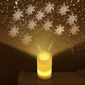 Control remoto Vela sin llama LED Noches Proyector de Luz ...