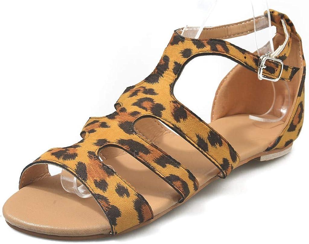 Kanzd Womens Ladies Leopard Strap Ankle Buckle Flat Sandals Roman Shoes