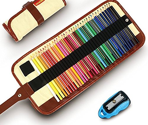 827th Colored Pencils (36 Count)- Sharpener and Canvas Holder For Coloring