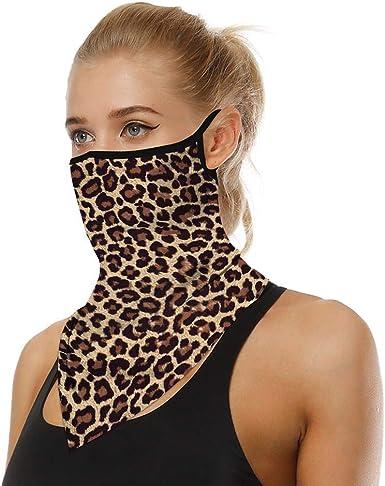 Golden Leopard Print Wildlife Neck Gaiter Scarf Face Shield Breathable Reusable
