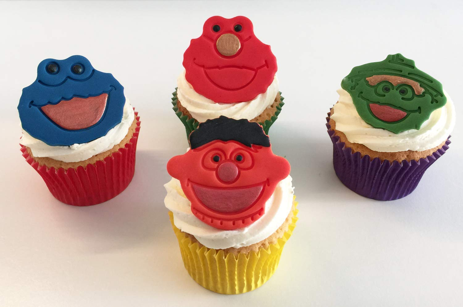 4 Mixed Sugar Sesame Street Character Cake Toppers Cookie