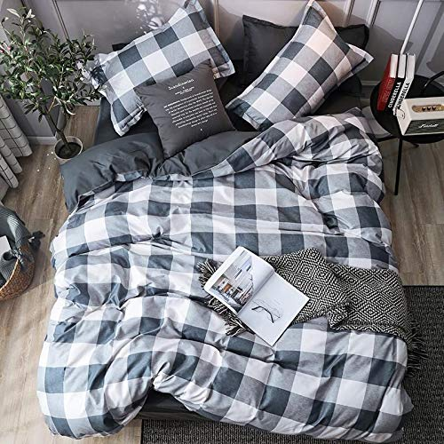 Duvet Cover Set Twin Size Gingham Microfiber Blue Gray White Bedding,3 Piece,Duvet & Down Comforter Cover (No Comforter) and 2 Pillowcases