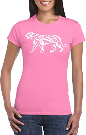 Pink Female Gildan Short Sleeve T-Shirt - Tiger – arabic Calligraphy D2 design