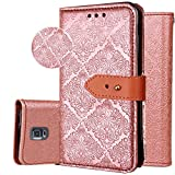 Galaxy S5 Wallet Case,S5 Purse Case,Auker 3 Card Holder Vintage Book Leather Wallet Case Magnetic Closure Folio Flip Full Body Cover with ID License Card Slot&Strap for Samsung Galaxy S5 (Gold)