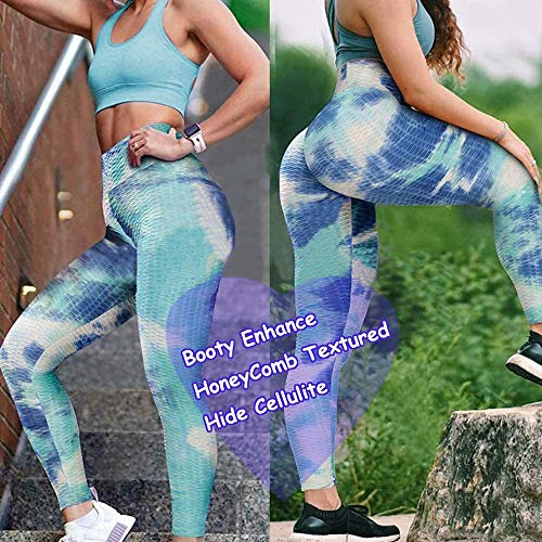 POWERASIA High Waist Tie Dye Yoga Pants for Women, Ruched Butt Lifting Stretchy Tummy Control Workout Leggings Stretch Tights