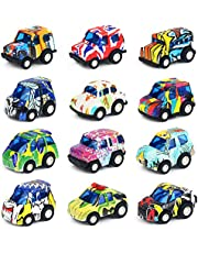 Nuheby Toy Cars Vehicles Pull Back Mini Metal Die Cast Model Cars 12pcs Graffiti, Xmas Party Stocking Fillers Car Toy Set for 3 4 5 Years Old Kids Boys Girls