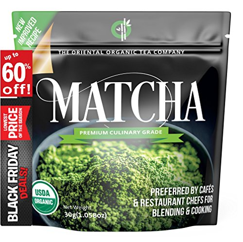 Matcha Green Tea Powder Organic-( Premium Culinary Grade ) - USDA & Vegan Certified-30g (1.06 oz) Perfect for Baking, Smoothies, Latte, Iced Tea, Ice Cream. Gluten & Sugar Free-The Oriental Organic