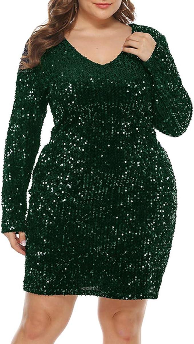 Zegeey Damen Kleid Paillettenkleid GroßE GrößEn V-Ausschnitt