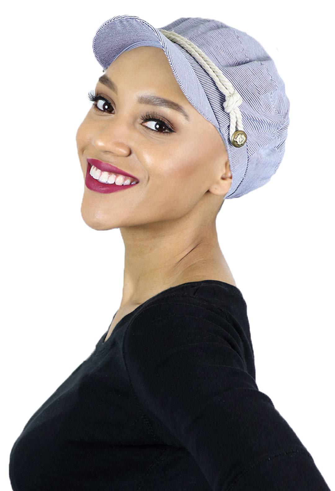 Summer Hats Beach Sun Newsboy Cap for Women Ladies Nautical Cabbie Chemo Headwear Head Coverings Seersucker (Blue)