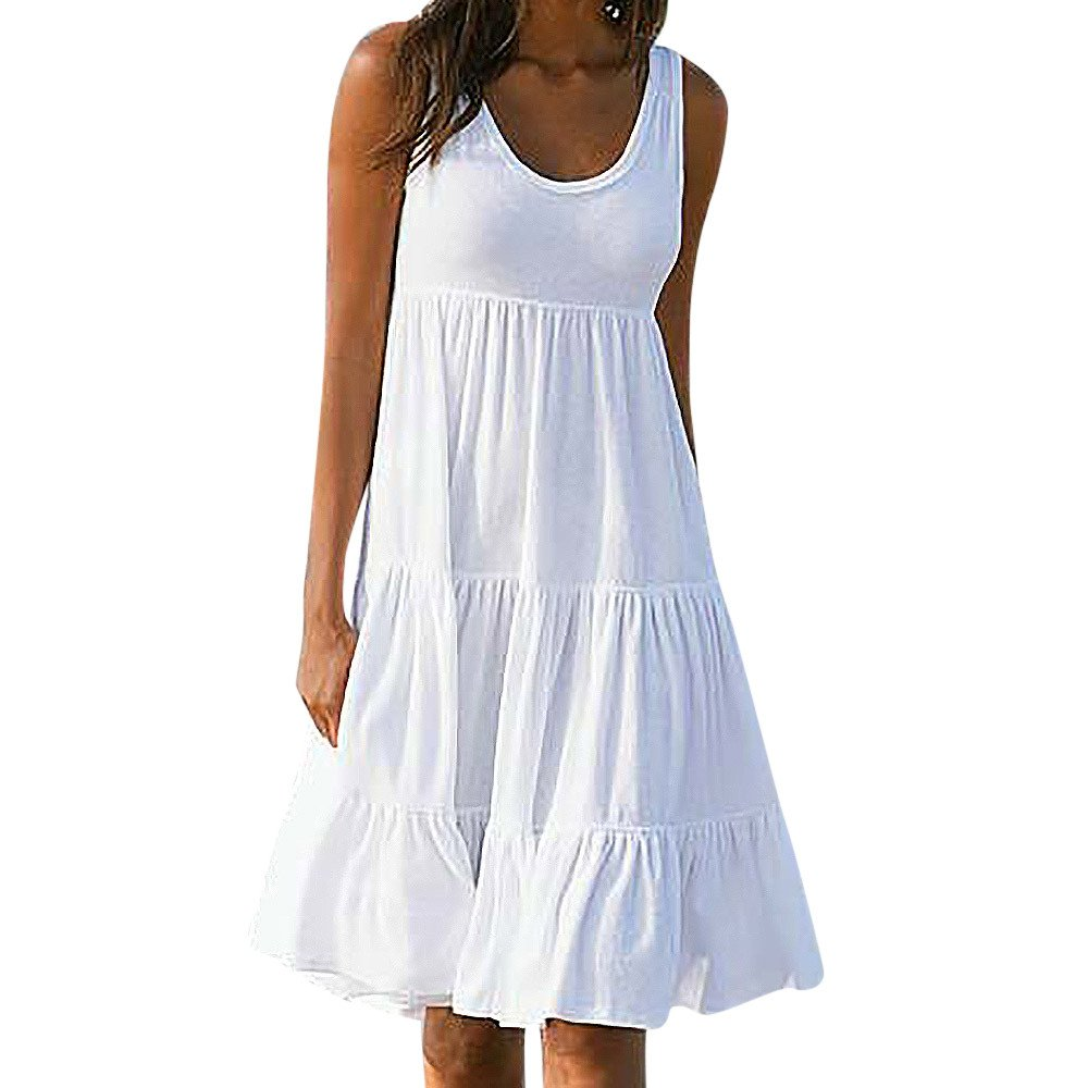 Women's Solid Color Basic Scoop O Neck Sleeveless Essential Flared A-Line Beach Casual Tank Dress(White,S)