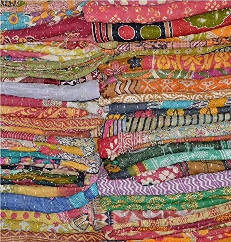 Indian Kantha Lot Twin Quilt Reversible Vintage Handmade Blanket Throw Patchwork