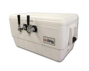 COLDBREAK Jockey Box, 2 Taps, Marine Pass Through, 48 Quart Marine Cooler, 50' Coils, Stainless Steel Shanks, Includes Stainless Faucets