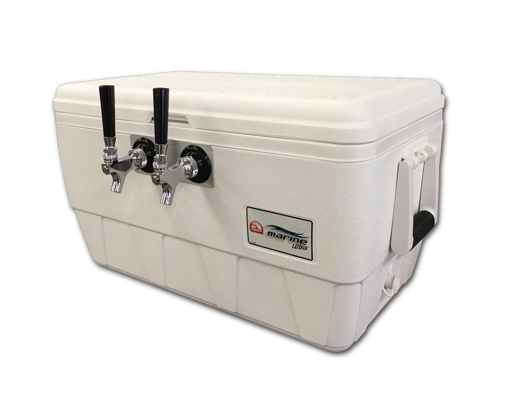 COLDBREAK Jockey Box, 2 Taps, Marine Pass Through, 48 Quart Marine Cooler, 50' Coils, Stainless Steel Shanks, Includes Stainless Faucets, Kegmate
