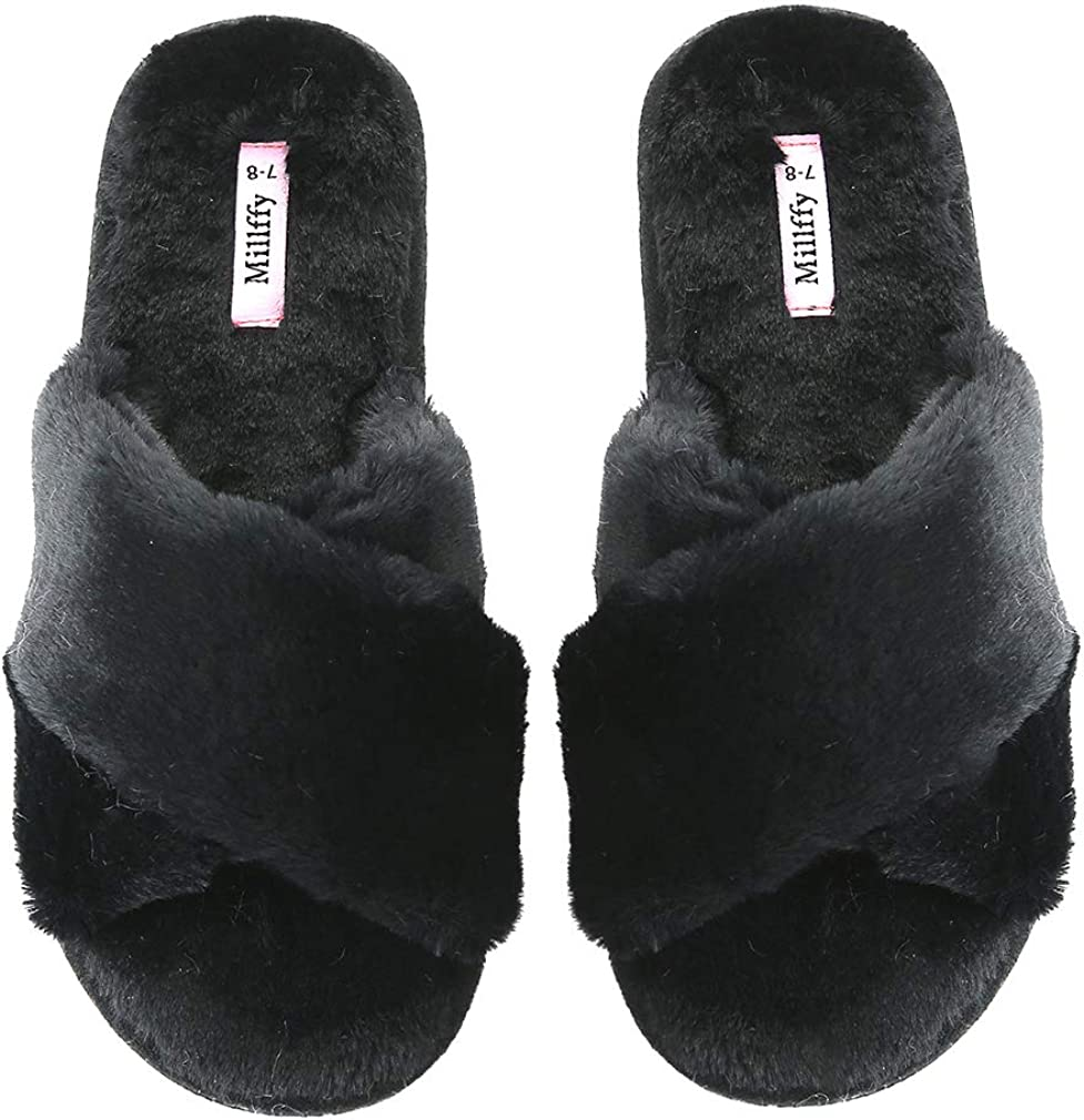 Millffy Women's Indoor Shoes Fashion Flax Home Lucy Refers to flip Flops Comfy Cozy Fur Slippers