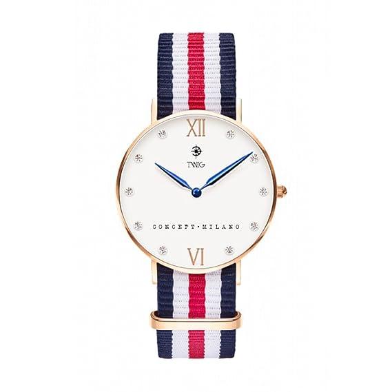 Reloj TWIG Klee Blanco Navy-Stripes Hombre Mujer clásico retrò ... 7a938517b521
