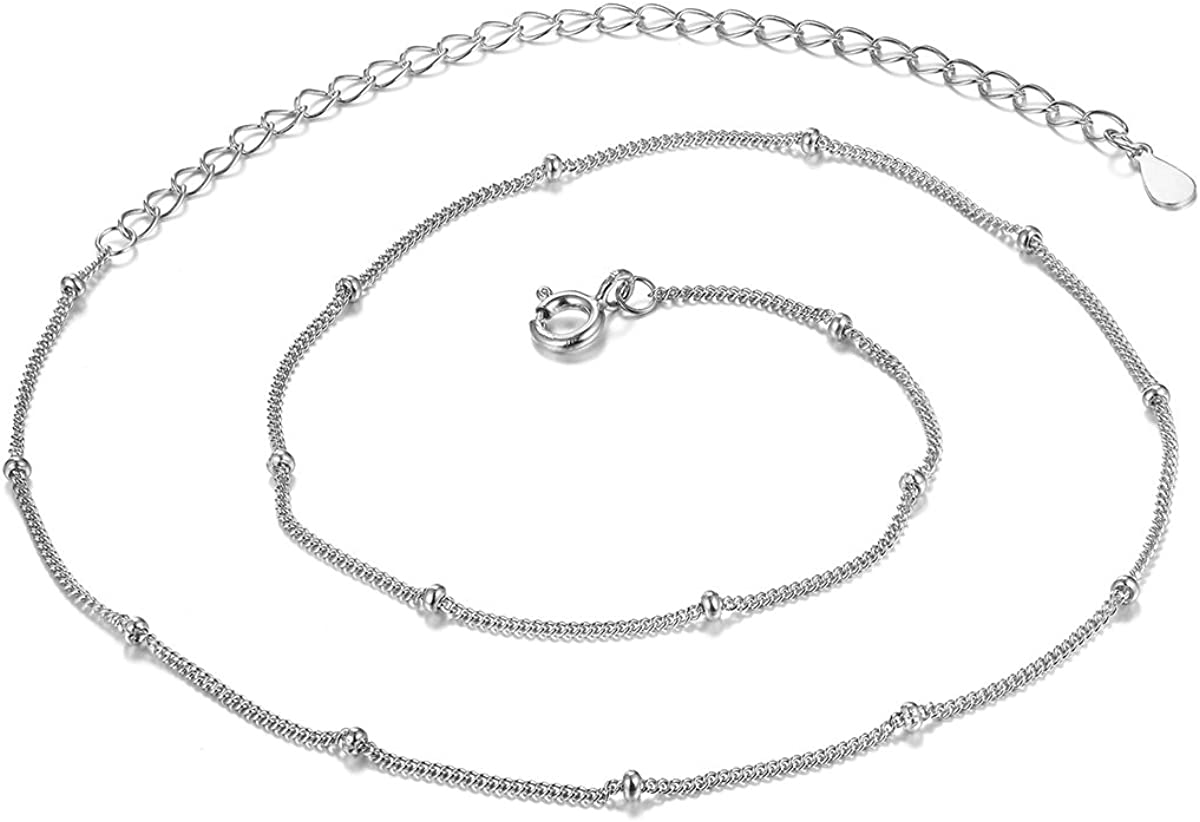 Small Satellite Beaded Curb Chain 13 to 16 Sterling Silver 1mm Choker Necklace in 18K Gold or Platinum