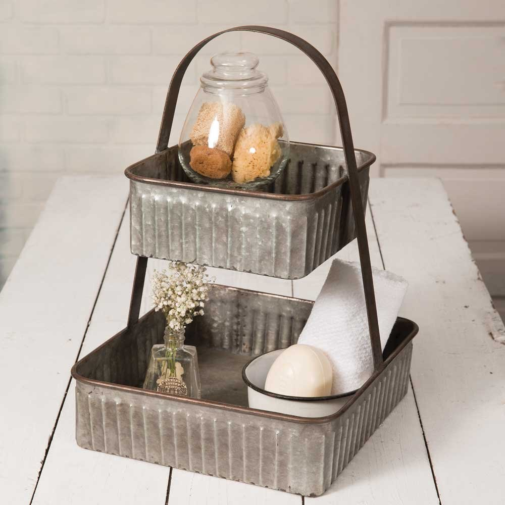Square Serving Tray Metal Two Tiered Kitchen Table Bathroom Decorative Decor