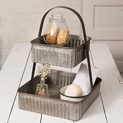 Charmant Square Serving Tray Metal Two Tiered Kitchen Table Bathroom Decorative Decor