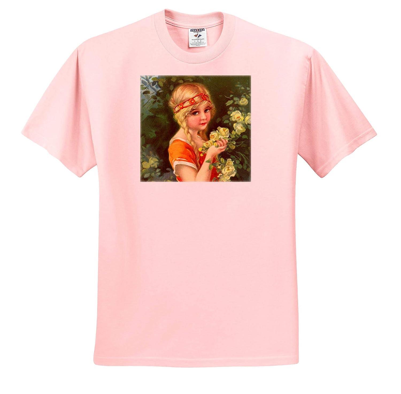 Flower Girls Charming Girl Smelling Roses 3dRose VintageChest T-Shirts