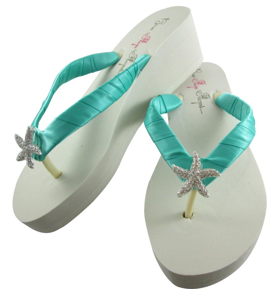 Rhinestone Handmade ace embellished flip flop shoes