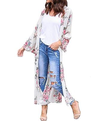 fed98af589 MeiLing Women's Print Bikini Bathing Suit Swimsuit Cover up Dress Chiffon  Long Kimono Cardigan Beachwear (
