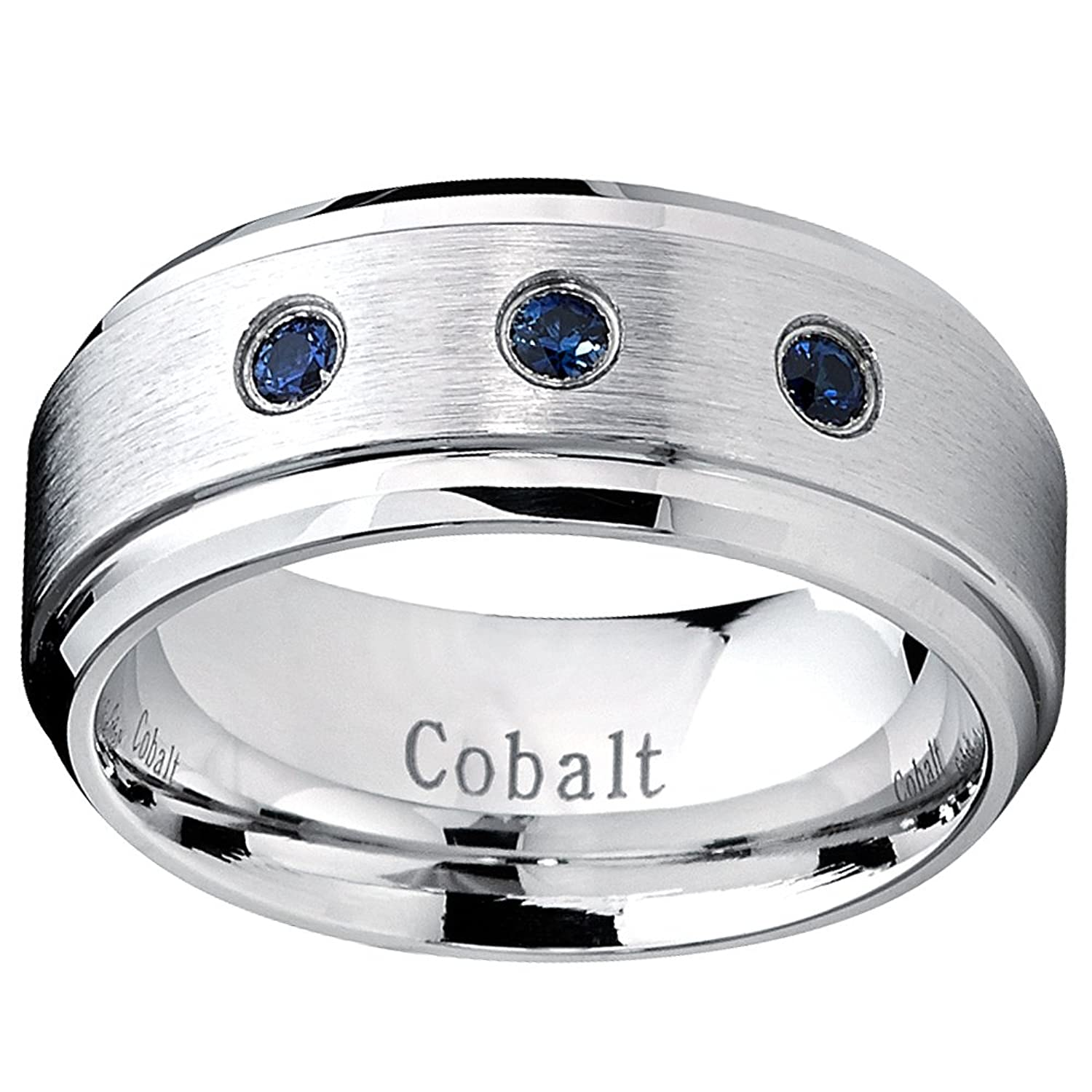 9mm cobalt men s ring wedding band with blue sapphire real stones