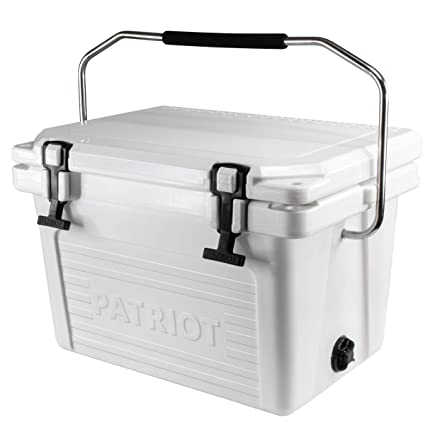 Patriot Heavy Duty 20QT Roto-Molded Cooler, with Steel Handle bar - Perfect  for Fishing, Hunting, Construction Sites, Tailgating - Holds up to 24 Cans
