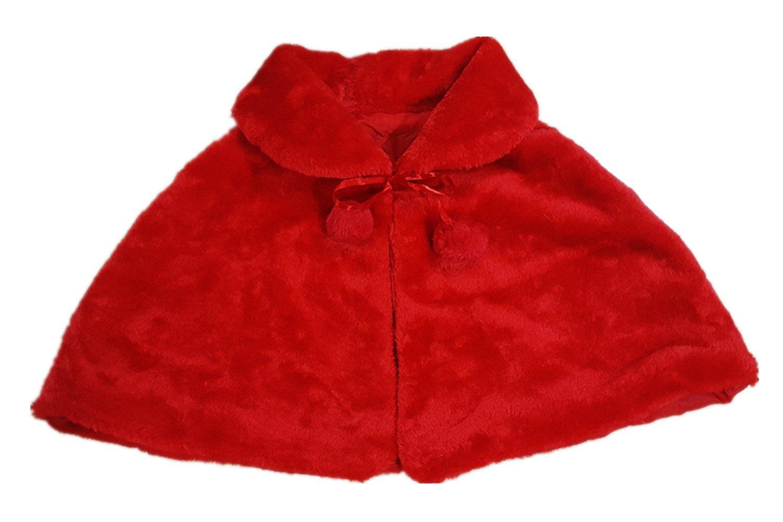 Flower Girl White Ivory Black Red Faux Fur Stole Shawl Wraps Cape Kids Communion C1 Cape-Kid
