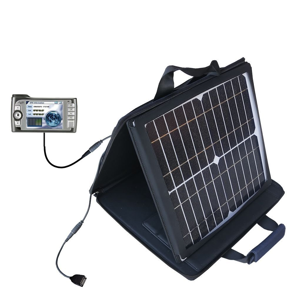 Gomadic SunVolt High Output Portable Solar Power Station designed for the Mio 269 Plus - Can charge multiple devices with outlet speeds by Gomadic
