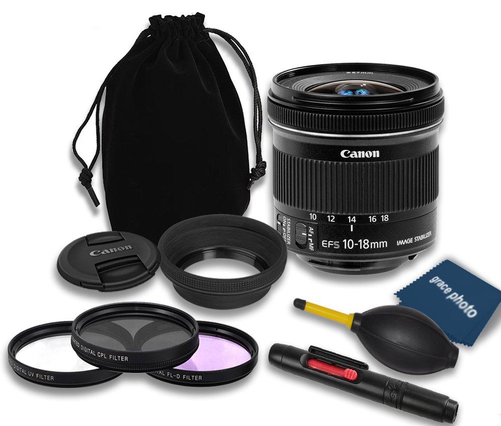 Canon EF - S 10 – 18 mm IS STMレンズ+ラバーレンズフード+レンズキャップ+レンズバッグ+ 3 PCフィルタキット+レンズペン+ダストブロワー+クリーニングクロス – インターナショナルバージョン   B01CRIRYBA