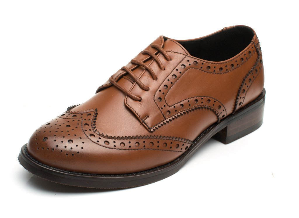 U-lite Brown Brogues Lace-up Wingtip Leather Flat Oxfords Vintage Oxford Shoe Womens BR 8.5