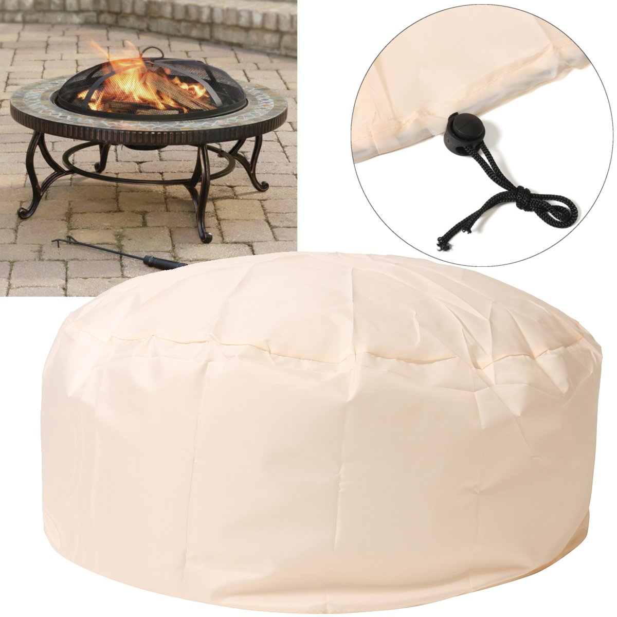 Essort Fire Pit Cover, 37'' Patio Round Fire Pit Cover with Drawstring UV Resistant Waterproof for Outdoor Grill BBQ Cook Beige