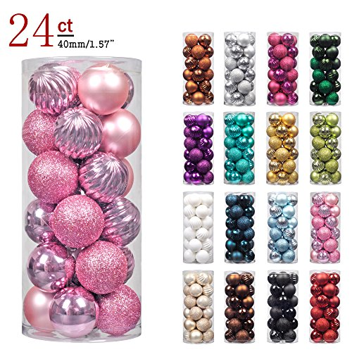 "Pink Christmas Decorations - KI Store 24ct Christmas Ball Ornaments Shatterproof Christmas Decorations Tree Balls Pastel SMALL for Holiday Wedding Party Decoration, Tree Ornaments Hooks included 1.57"" (40mm Pink)"
