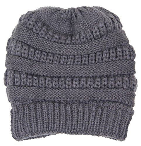 (Fashion Love Super Soft Solid Color Cable Knit Warm Winter Stretch Beanie Cap Ponytail Bun Hat (Charcoal Gray))