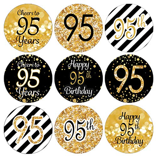 Black and Gold 95th Birthday Party Favor Labels | 180 Stickers