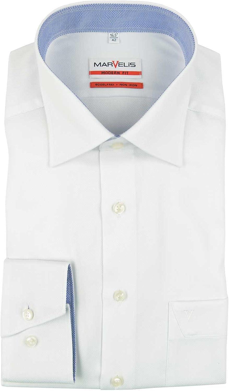 Marvelis Modern Fit - Camisa, color blanco estructurado: Amazon.es: Ropa y accesorios