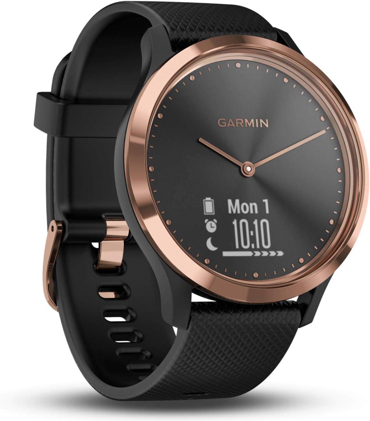 Garmin Vívomove HR- Reloj híbrido con Pantalla Oculta y Agujas, Correa de Silicona Negra (Reacondicionado)