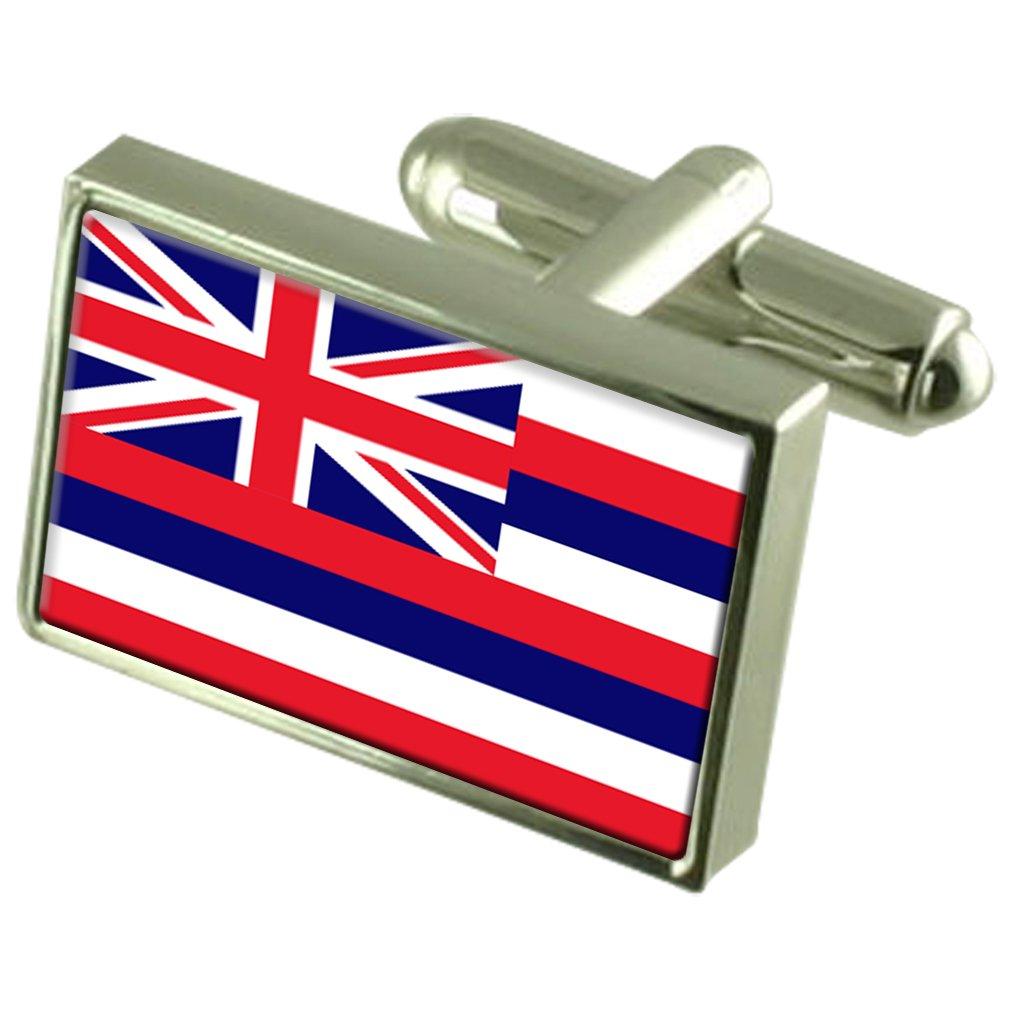 ハワイの刻まれた個人化されたボックスに純銀製のカフスボタンフラグ   B01NBWQC87