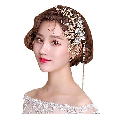 Amazon Com Rhinestone Bridal Hair Combs Gold Leaf Wedding Tiara